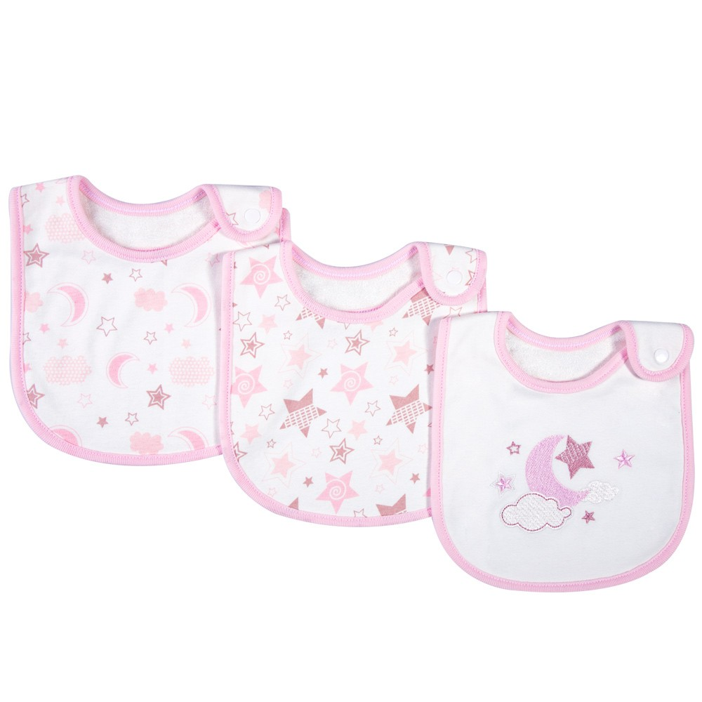 3 Pack Baby Bibs 100% Organic Cotton Drooling Teething Feeding Bib Soft Super Absorbent With Snap Button For 0-36 Months Girls Boy Newborns Infant Toddlers Moon & Star