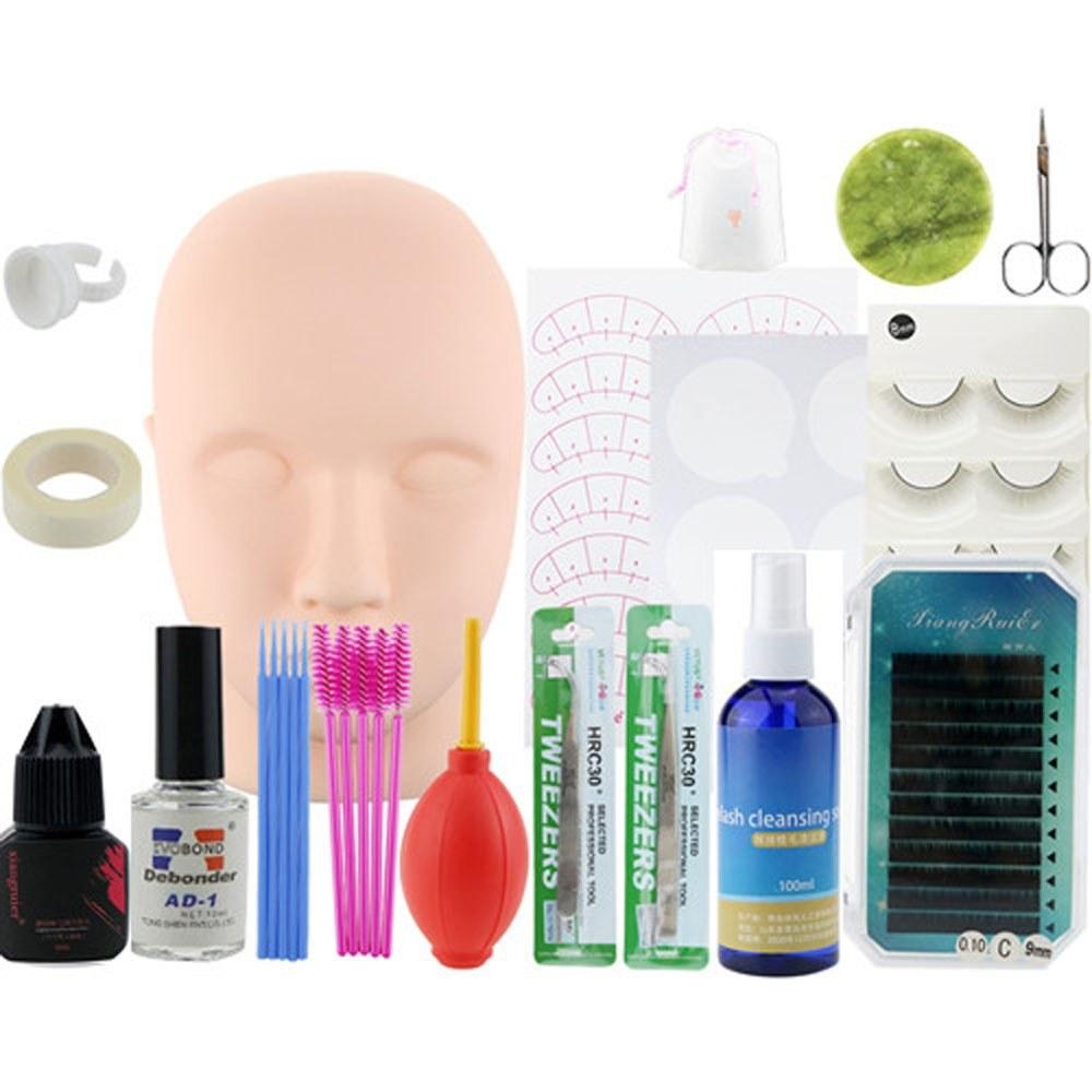 19PCS False Eyelash Extension Practice Tool Kit Eyelashes Make Up Head Model Individual False Lash Curl Glue Tweezers Lashes Grafting Training Tools