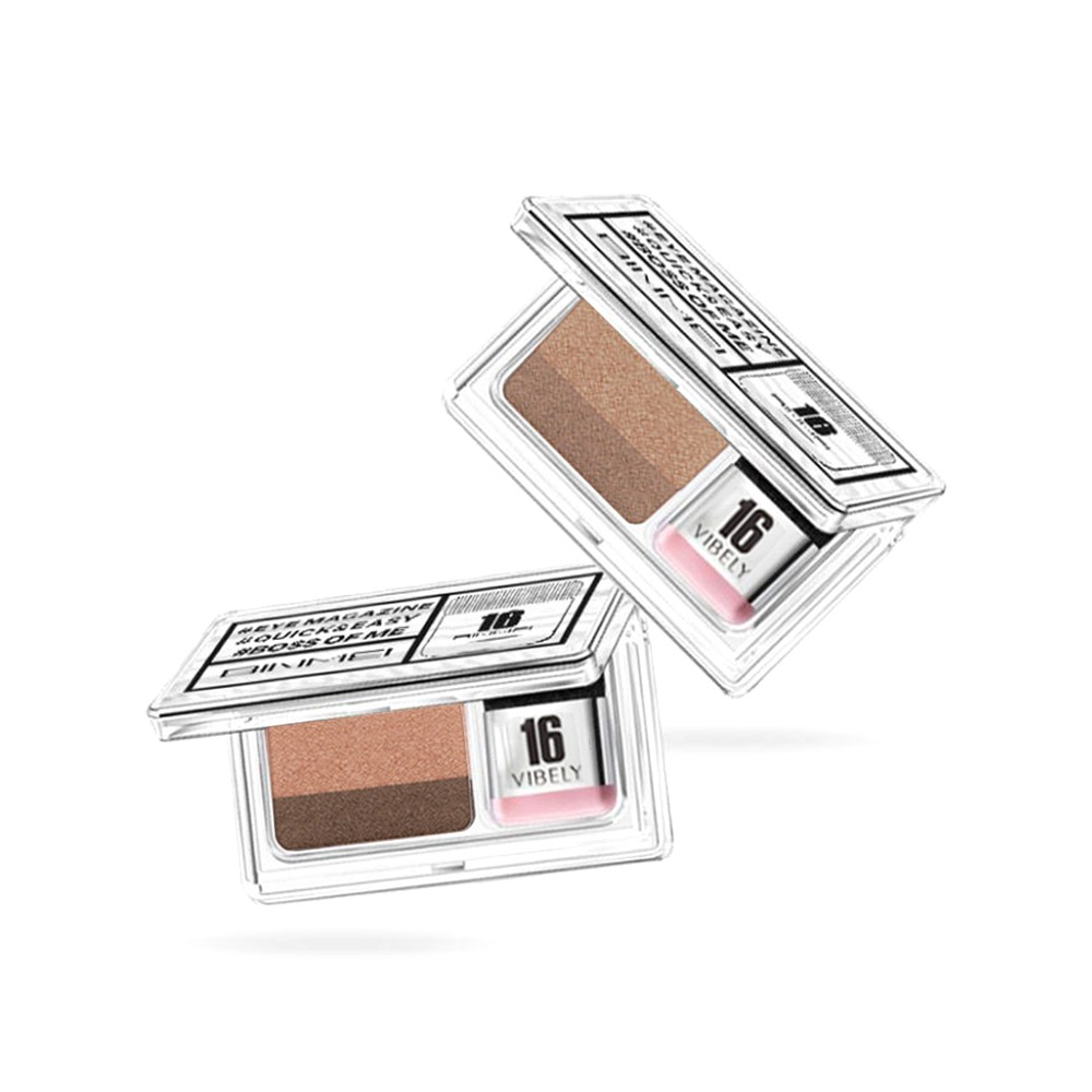 Double Color Lazy Double Layer Shadow Eyeshadow Makeup Palette Pigment Waterproof Shimmer Eye Makeup with Brush