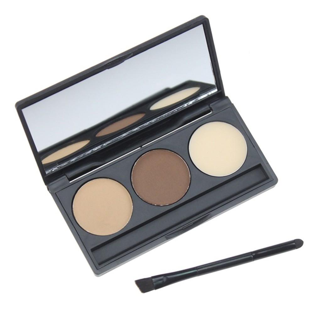 3 Color Eyebrow Powder Palette Cosmetic Eye Brow Enhancer Waterproof Makeup Eye Shadow With Brush Mirror Box