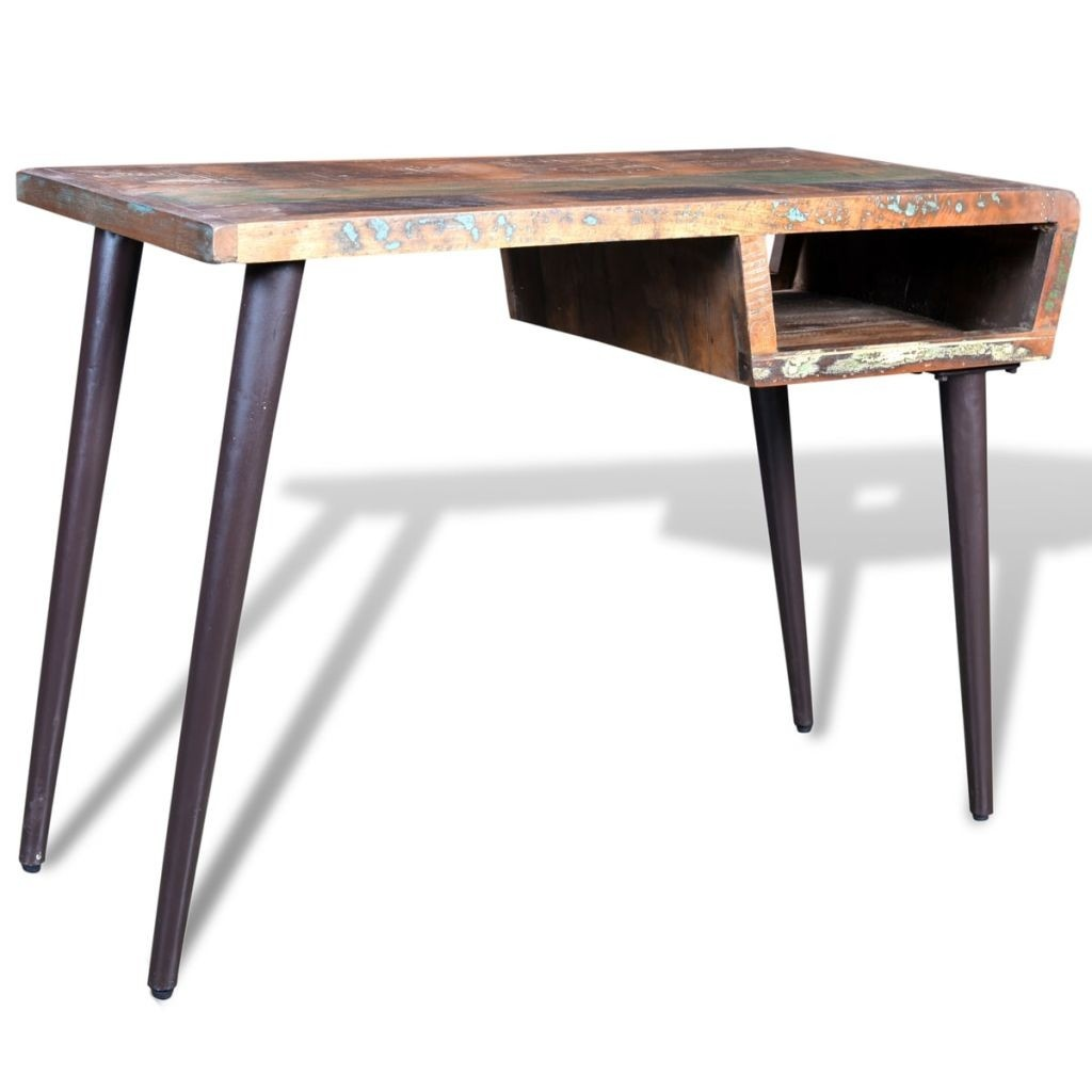 recycled wood desk with steel legs