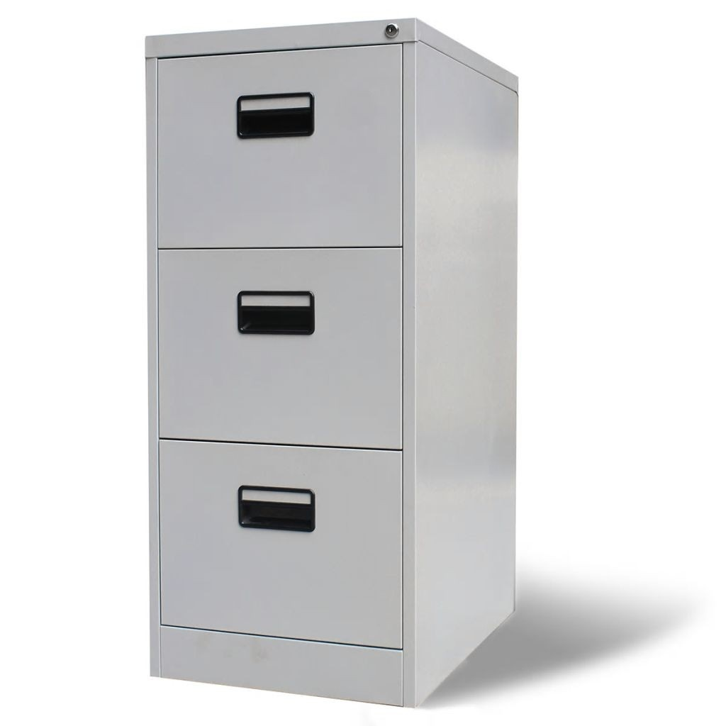 metal office cabinet with 3 drawers gray