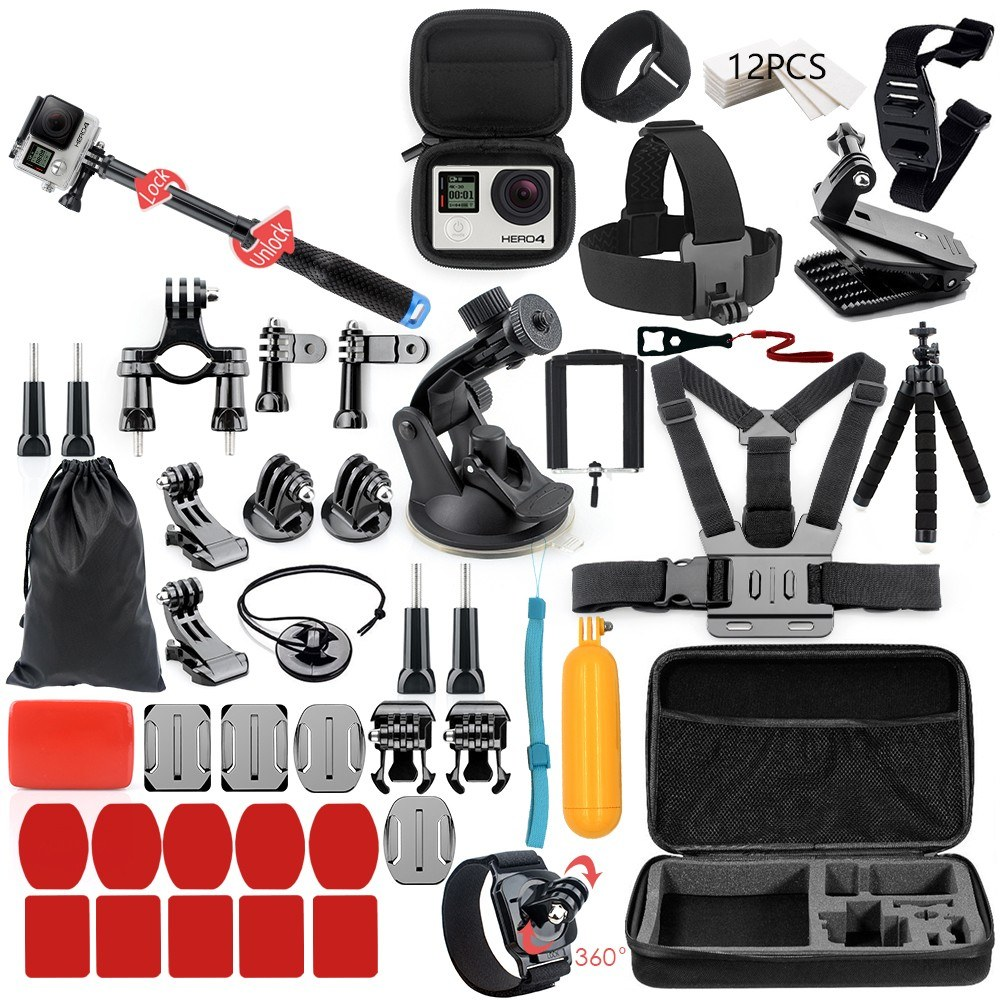 Multifunctional Camera Accessories Cam Tools for Outdoor Photography Cameras Protection Tool for gopro hero 6 5 4 3 kit 3 way selfie stick for Eken h8r / for xiaomi for yi EVA case VS77