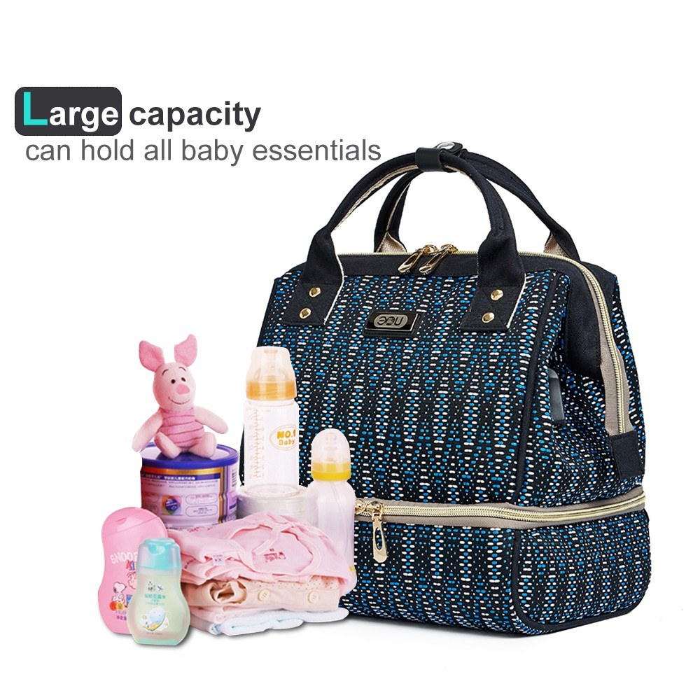 Diaper Bag Multi-Function Travel Backpack Handbag Nappy Bags for Baby Care Large Capacity with Insulted Pocket Dark Blue