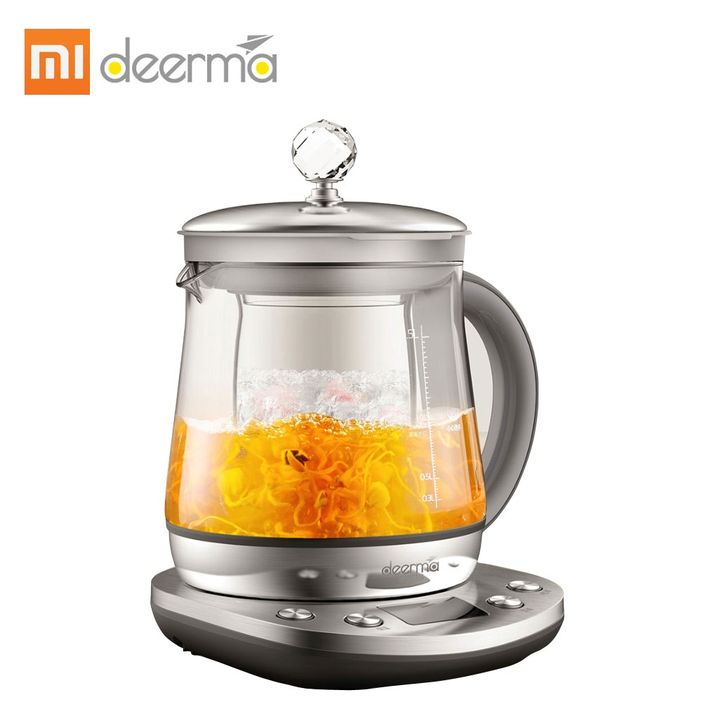 Xiaomi Deerma Electric Stainless Steel Kettle Health Automatic Tea Pot Multi Cooker 1000W Steamer Water Bottle Adjustable Firepower Dormitory Boiler 220V 50Hz