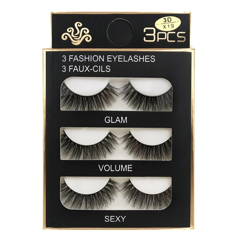 SHIDISHANGPIN 3 Pairs False Eye Lashes Natural Handmade Thick False Eyelashes Extension Soft Eye Lashes Mink False Eyelashes