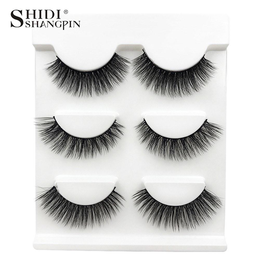 SHIDISHANGPIN 3 Pairs Mink Eyelashes 3D False Lashes Mix Style Thick Makeup Eyelash Extension Natural Volume Soft Fake Eye Lashes