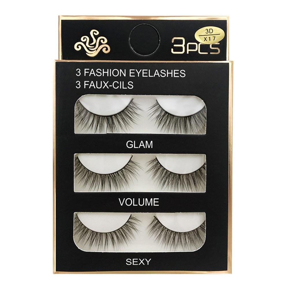 SHIDISHANGPIN 3D False Eyelashes Extension 3Pairs Long Lashes With Volume for Women's Make Up Handmade Soft Fake Eyelash