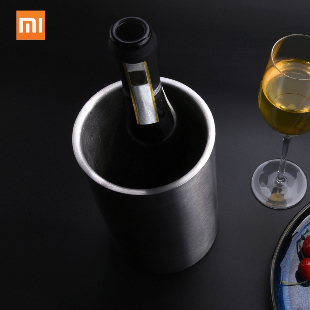 Xiaomi Circle Joy Stainless Steel Ice Bucket Dual Layer Efficient Insulation Mini Ice Drink Bucket For Whisky Champagne Wine Juice Cooling