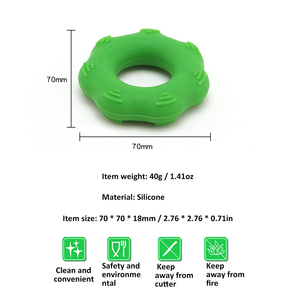 Silica Gel Portable Muscle Power Training Silicone Grip Ring Exerciser Strength Finger Hands Grip Fitness Equipement Light Grey