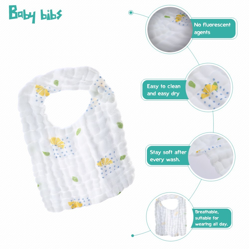 2 Pack Baby Bibs 100% Organic Muslin Cotton Drooling Teething Feeding Bibs Soft Absorbent 6 Layers Snaps 11 * 8in Random Pattern