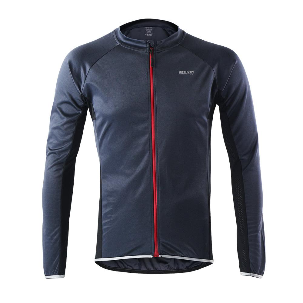 Arsuxeo Outdoor Sports Cycling Jersey Bike Bicycle Full Zip Long Sleeve Shirt MTB Bike Riding Clothing Jersey