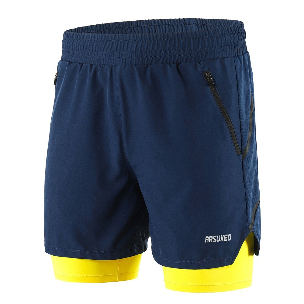 Men 2 in 1 Running Shorts Quick Drying Breathable Active Training Exercise Jogging Marathon Cycling Shorts