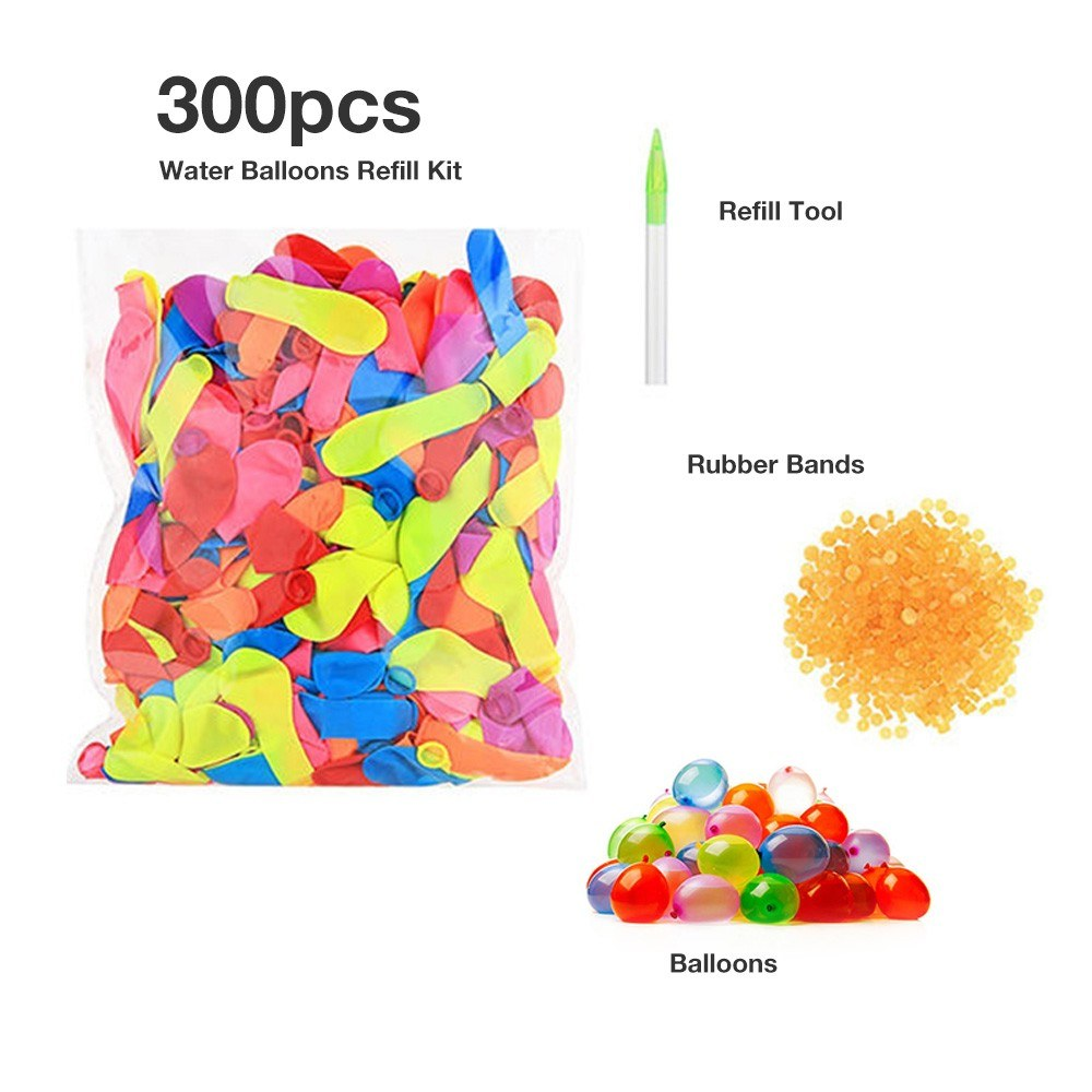 Instant Self Sealing No Tying Quick Fill Water Balloons Bundled 300Pcs Summer Party Toy Gift Set Rapid Refill Kit
