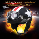 Half Open Face Motorcycle Helmet with Goggles Visor Scarf Biker Scooter Touring Helmet for Harley