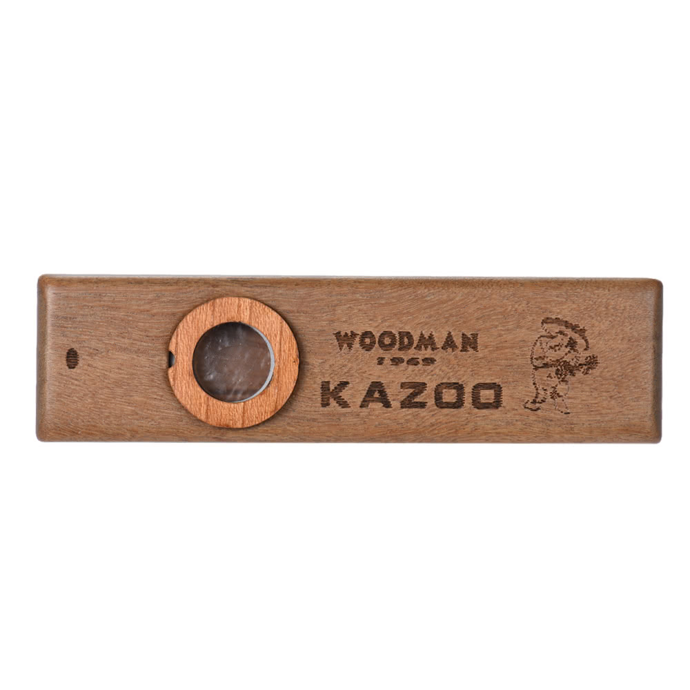 Wooden Kazoo Musical Instrument Ukulele Guitar Partner Wood Harmonica with Metal Box for Music Lover