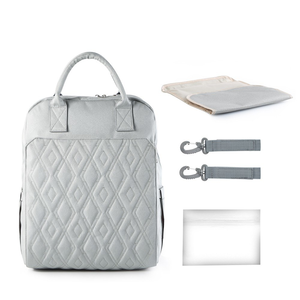 Diaper Bag Backpack Large Capacity Multi-function Waterproof Polyester Baby Clothes Diaper Nappy Milk Powder Bottle Travelling Storage Bag with 6 Pockets Hold or Hang -- Gray
