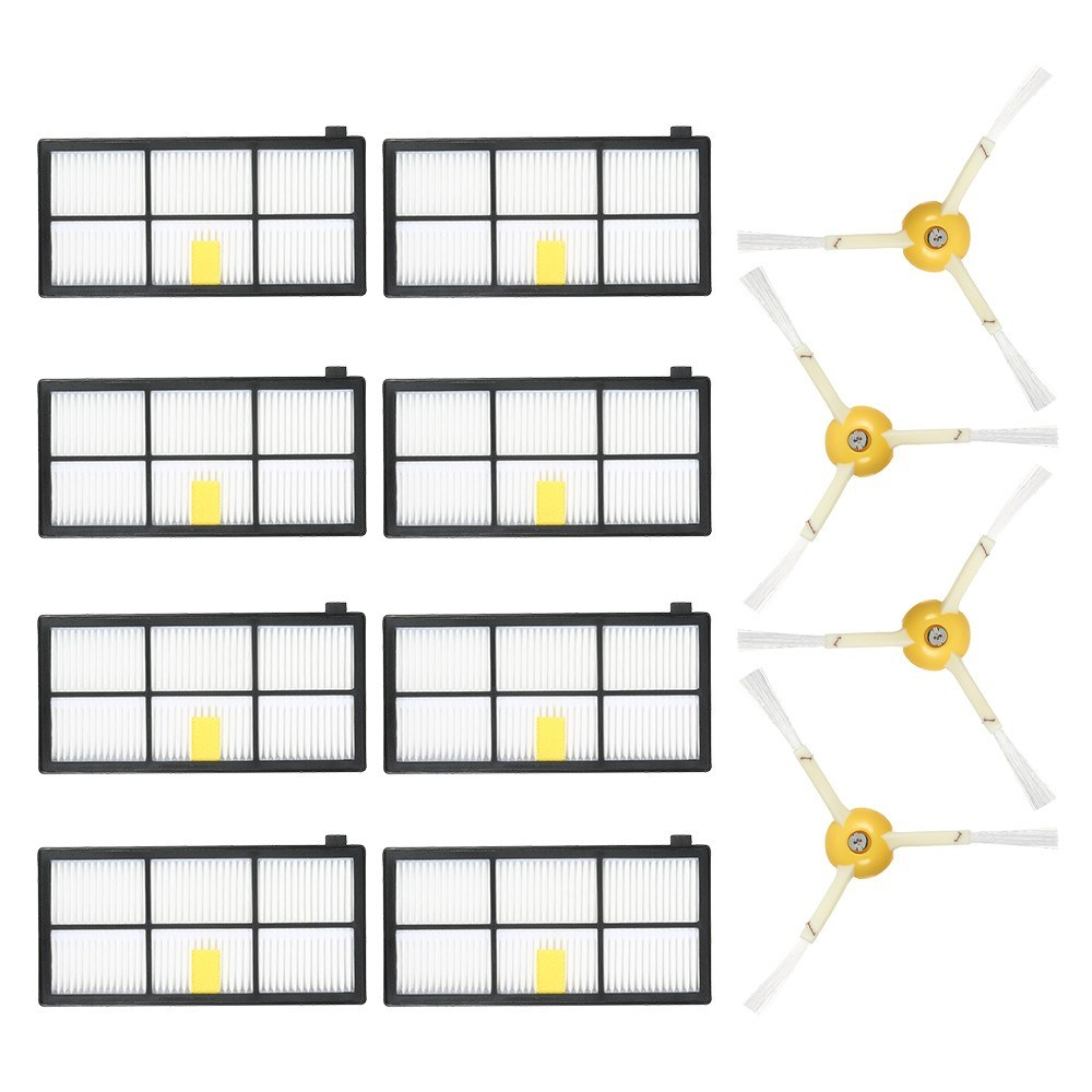 Pack of 12 Replacement Accessories Kit for iRobot Roomba 800 & 900 Series 805 860 861 864 866 870 880 890 891 894 960 961 964 966 980 Vacuum Cleaner-- 4 Side Brushes + 8 HEPA Filters