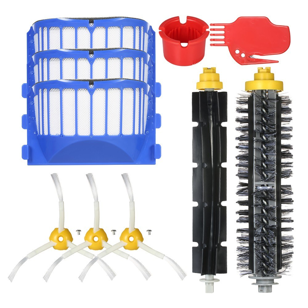 Pack of 10 Replacement Accessories Kit for iRobot Roomba 600 Series 690 691 694 650 651 664 615 601 630 Vacuum Cleaner-- Bristle Brush + Flexible Brush + Side Brushes + Filter + Cleaning Tool