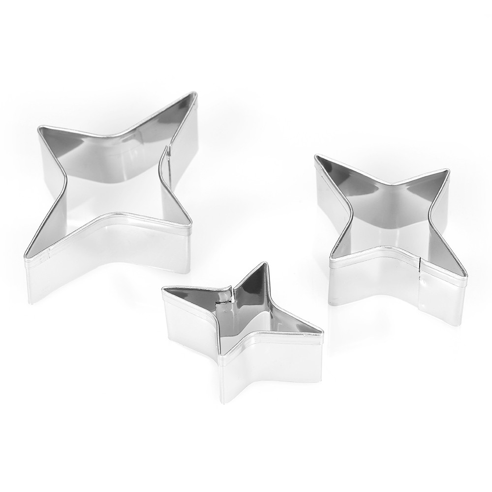 3pcs 4-Point Star Cookie Cutters Stainless Steel Fondant Cutter Biscuit Cutters Sandwich Cutters Cookie Cutter Set