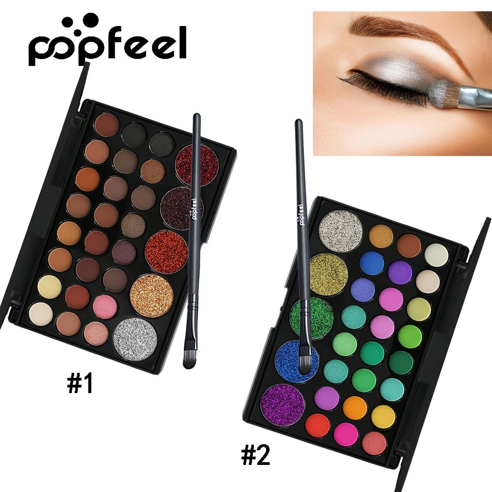 Popfeel 29 Color Pearlescent Eye Shadow  Natural Easy Wearing Shimmer Waterproof  Cosmetic Charming Fairy Colorful Glitter Highlight Makeup Accessories with Brush