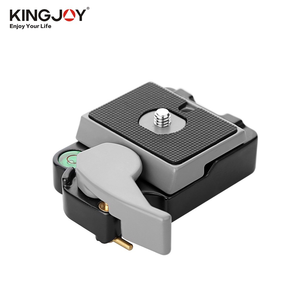 KINGJOY Aluminium Alloy Quick Release Mount Base with Quick Release QR Plate Bubble Level 1/4 & 3/8 Inch Screw for Tripod Monopod Ballhead for Camera Camcorder DSLR GoPro