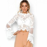 Sexy Women Floral Lace Flared Sleeve Blouse Transparent Mesh Long Sleeve Elegant Party Slim Top White