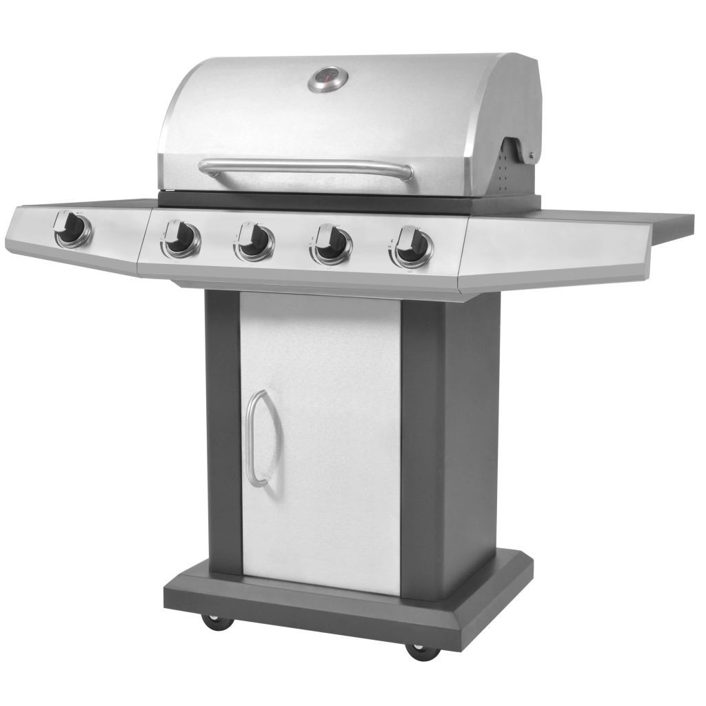 Gas Grill Grill 4 + 1 burners Black and Silver