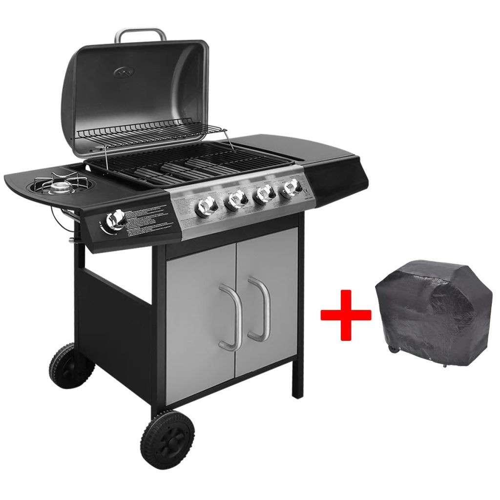 gas grill barbecue grill 4 + 1 burner black and silver