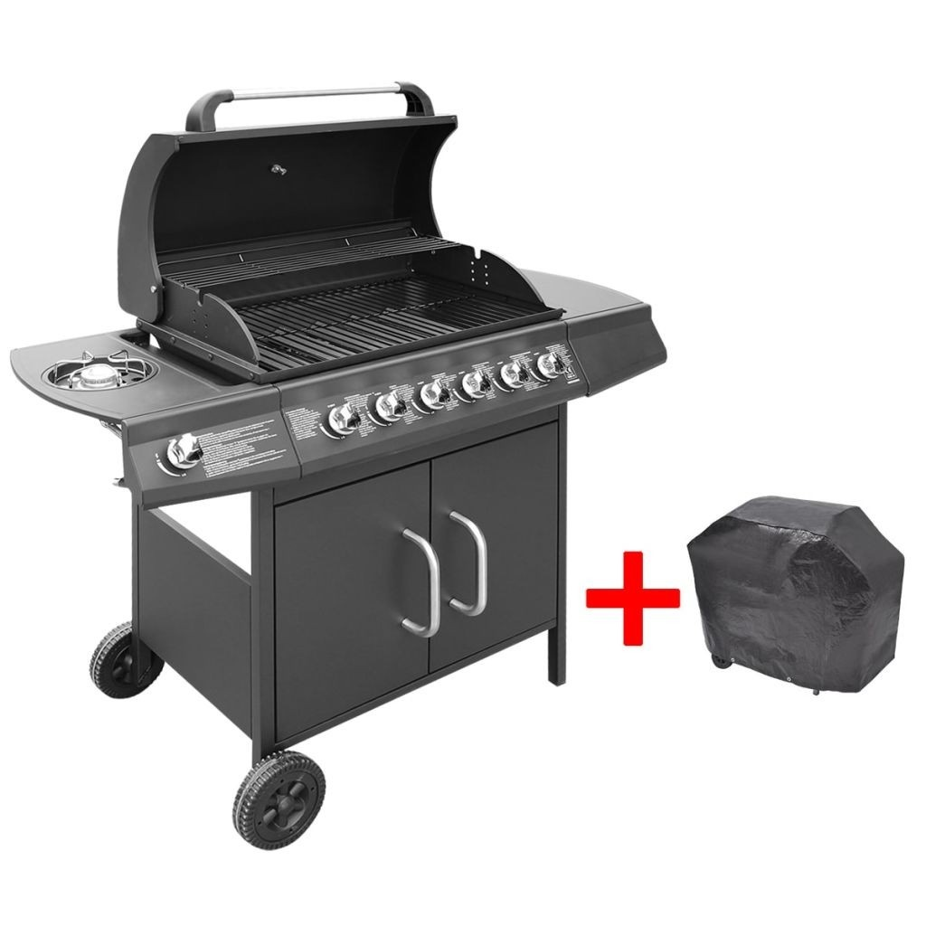 gas grill barbecue grill burner Black 6 + 1