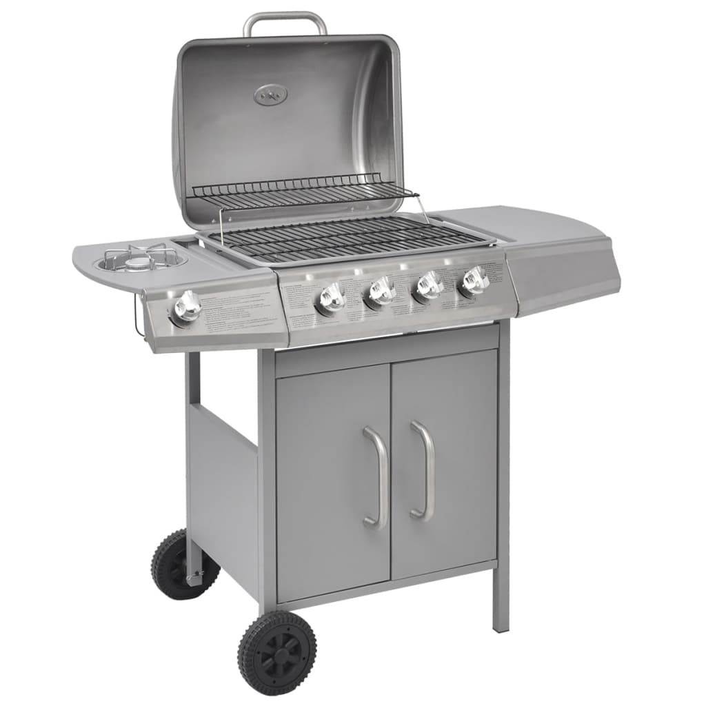 gas grill barbecue grill 4 + 1 burner Silver