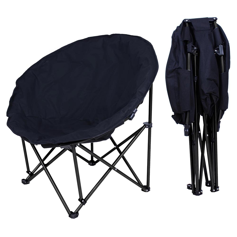 Oversize Foldable Padded Moon Chair Black