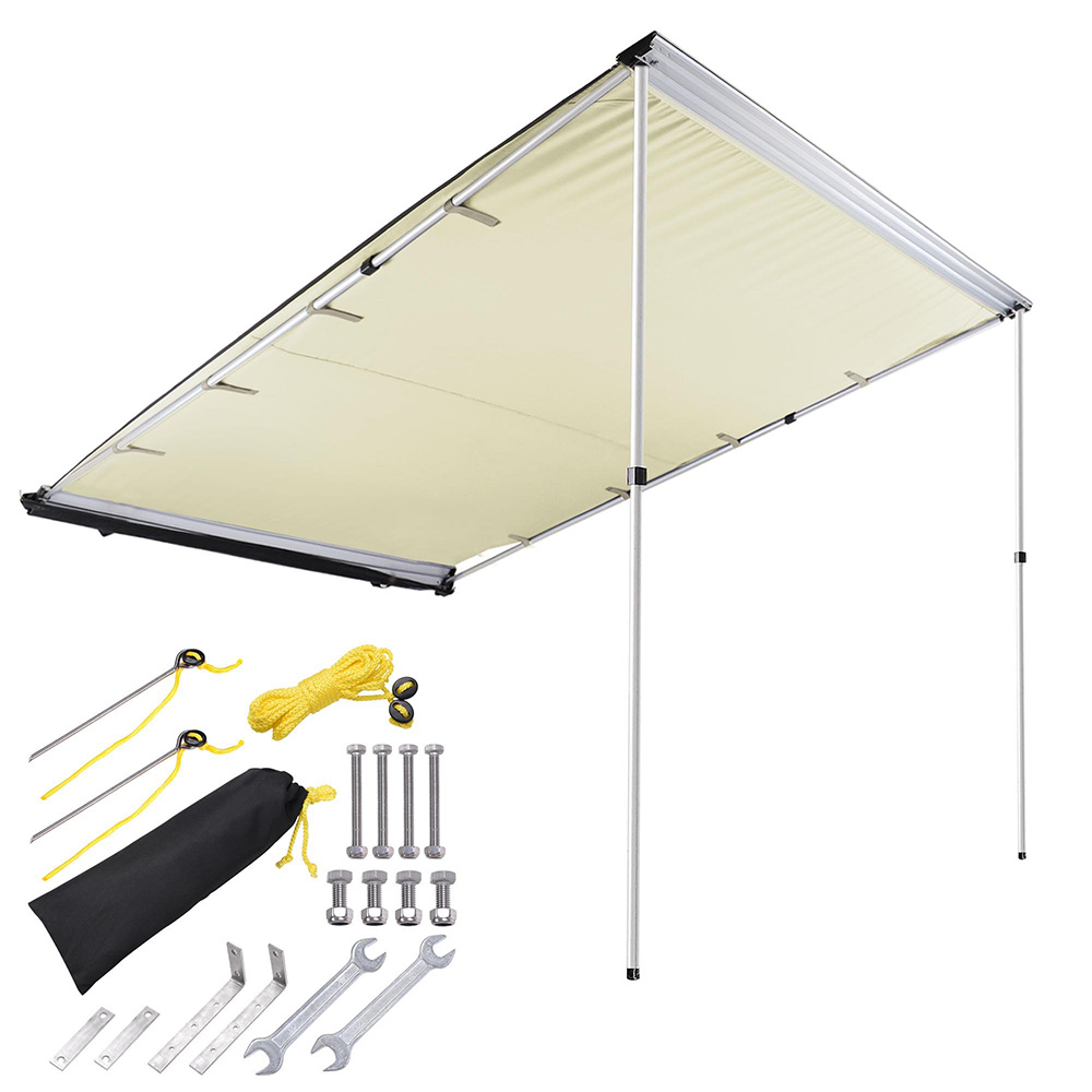 6.6x8.2' Car Side Awning Rooftop Pull Out Tent Shelter PU2000mm UV50+ Shade SUV Outdoor Camping Travel Beige