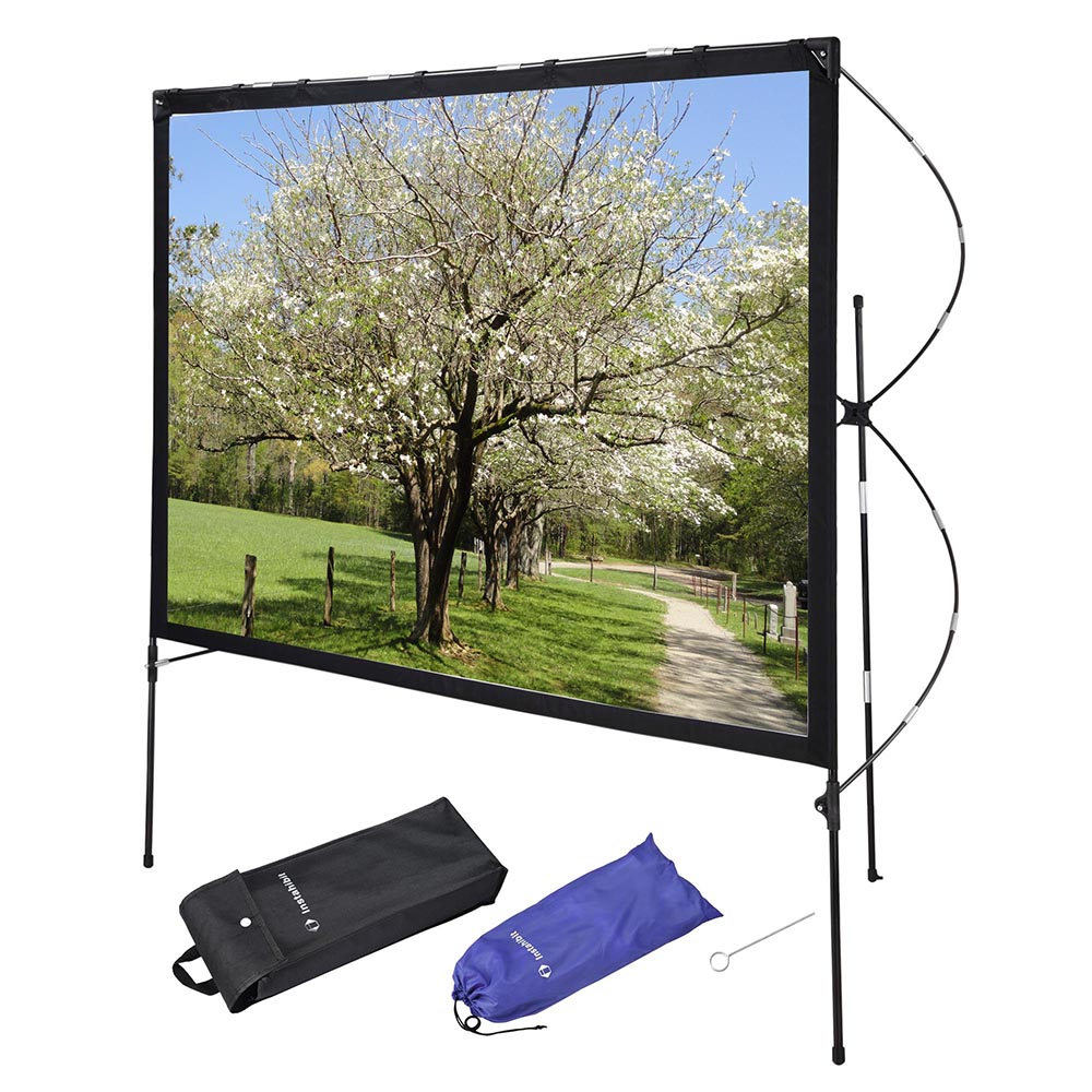 """Instahibit 77"""" 16:9 Portable Projector Screen w/ Foldable Frame Stand Outdoor Home"""
