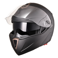 Motorcycle Helmet Flip Up Full Face DOT with Double Visors - Large