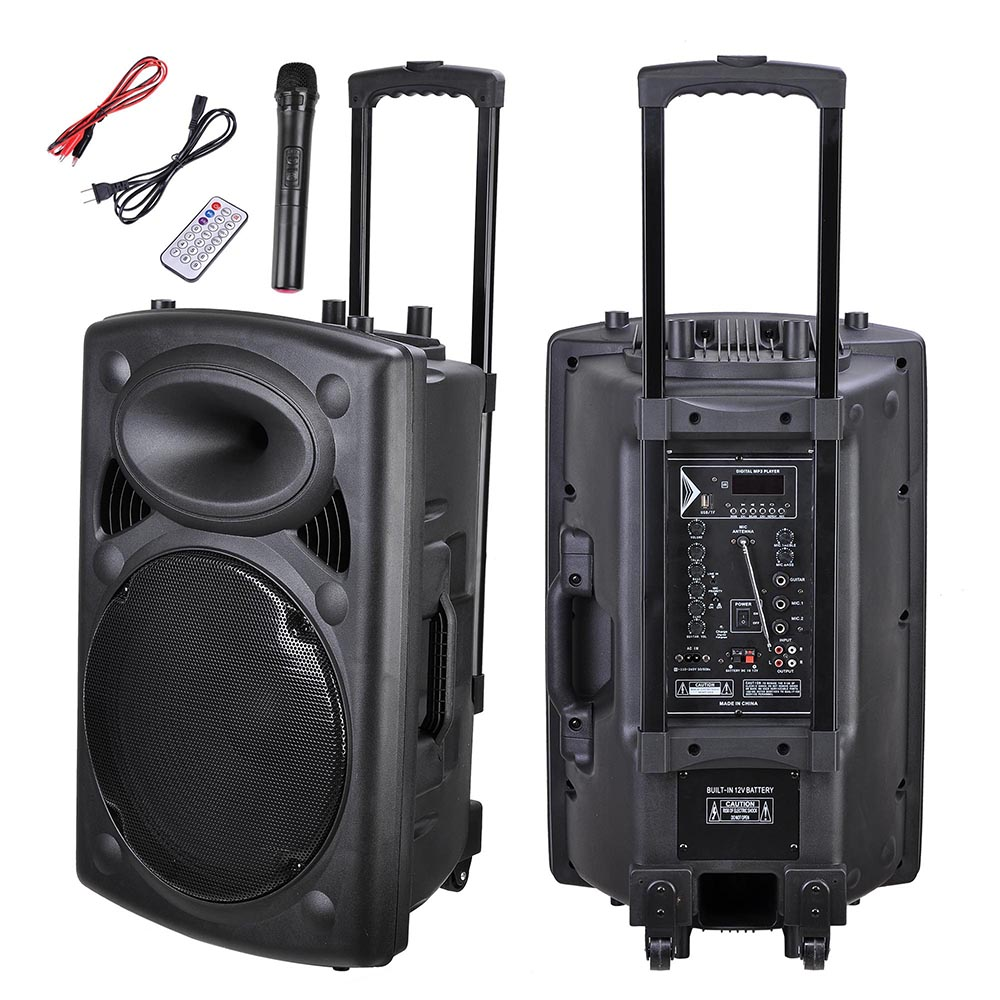 Portable Active PA Speaker with Mic and Remote - 15 In