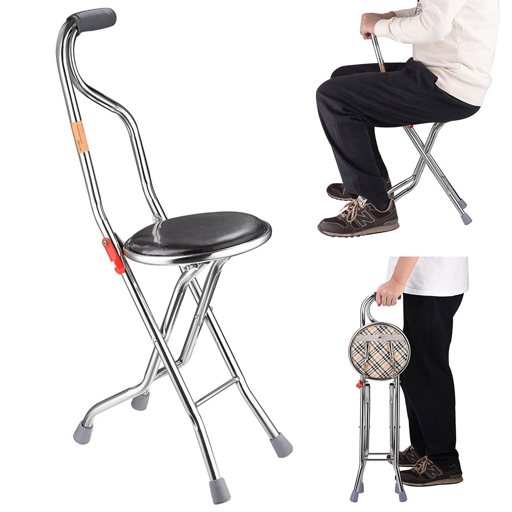 Medical Folding Walking Stick with Seat Four Legged Portable Travel Hiking Cane Chair Stool Eldely Care Aid