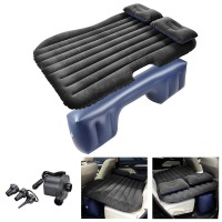 Inflatable Mattress Car Air Bed Backseat Cushion Travel Camping with 2 Pillows Electric Pump Carry Bag Black