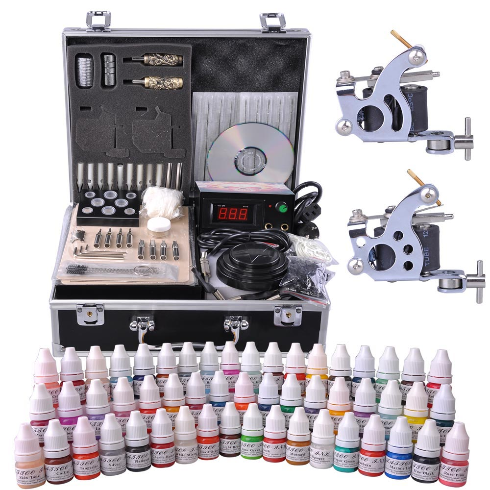 Complete Tattoo Kit 54 Color Ink 2 Machine Guns Set LCD Power Supply Equipment 360-degree Foot Switch