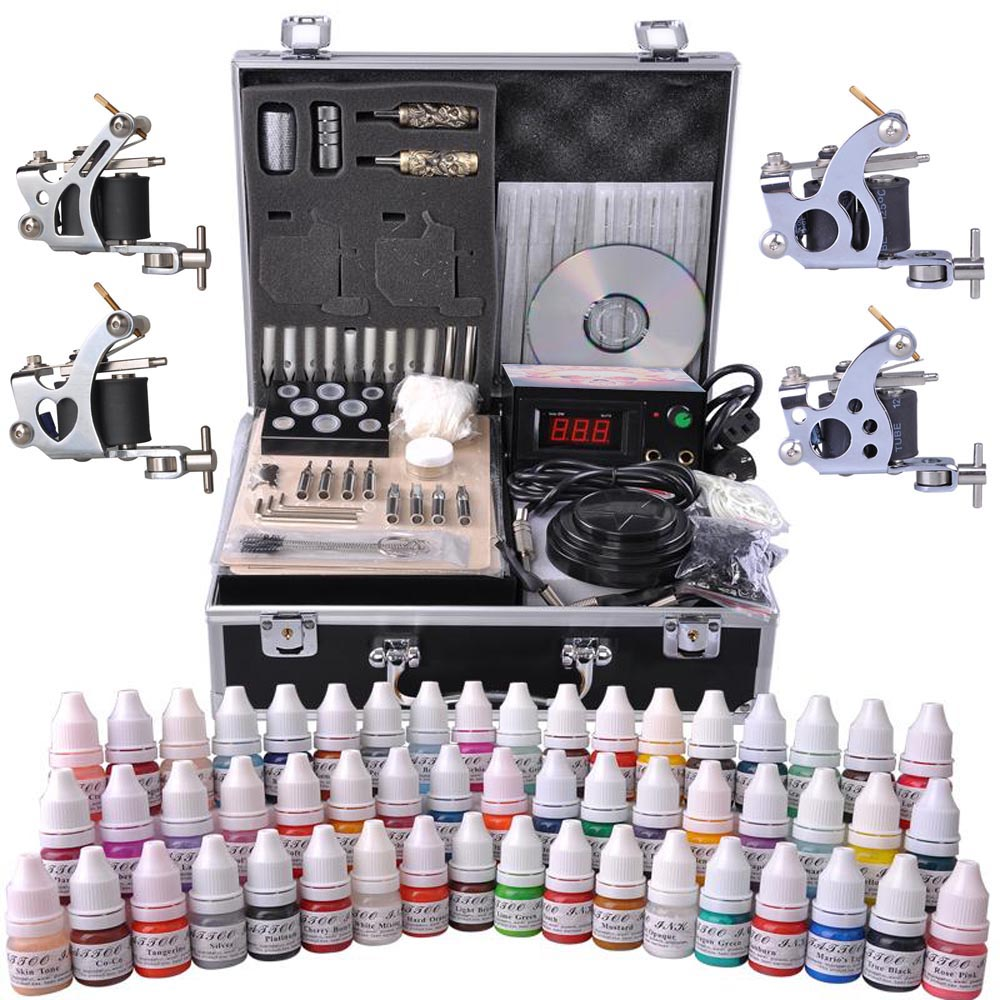 Complete Tattoo Kit 54 Color Ink 4 Machine Guns Set Foot Switch LCD Power Supply Equipment