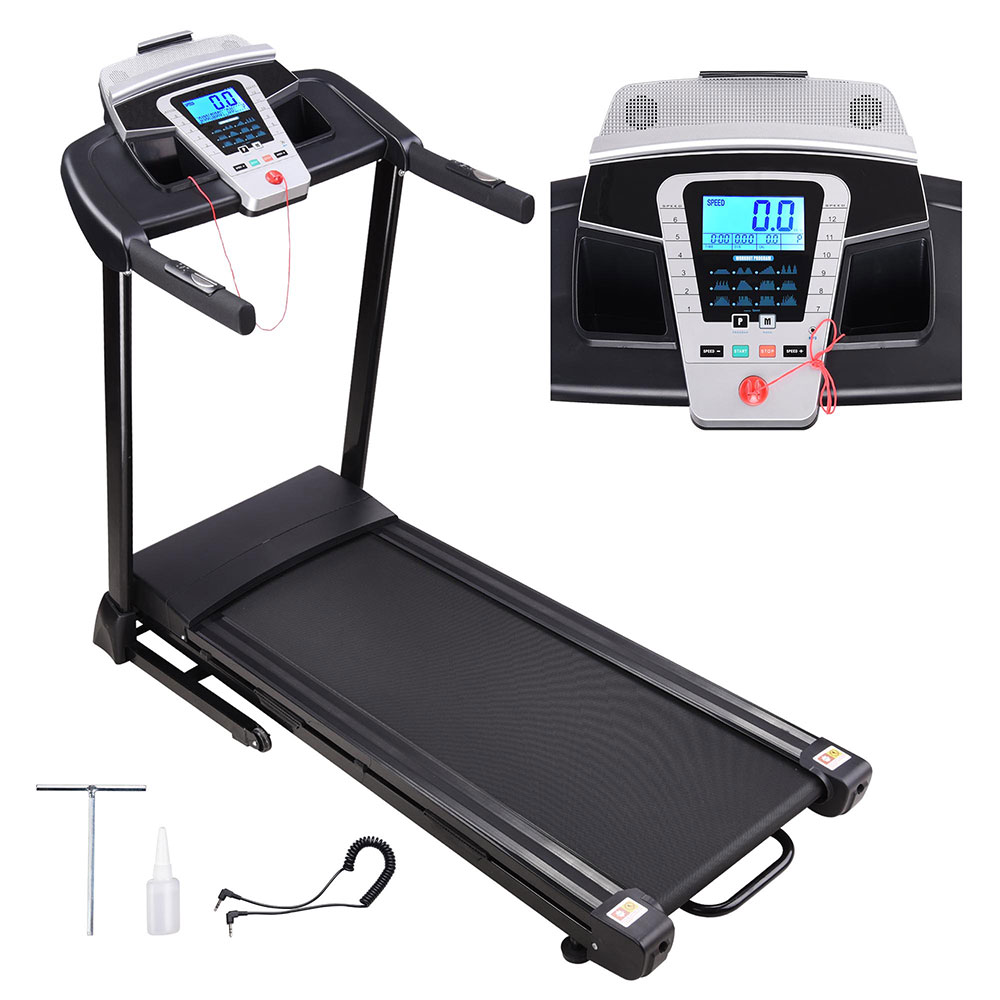 2.25HP Folding Electric Treadmill Motorized Running Walking Machine Cardio Trainer with Speaker LCD Capacity 265lbs