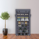 10 Tiers Shoe Rack with Dustproof Cover Closet Shoe Storage Cabinet Organizer - Gray
