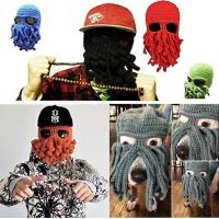 Windproof Octopus Winter Warm Knitted Wool Beard Squid Beanie Hat Cap