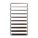 10 Tiers Shoe Rack with Dustproof Cover Closet Shoe Storage Cabinet Organizer Dark - Brown