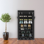 10 Tiers Shoe Rack with Dustproof Cover Closet Shoe Storage Cabinet Organizer Dark - Black
