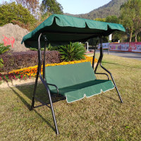 3-Person Outdoor Large Convertible Canopy Swing Glider Lounge Chair w/Removable Cushions- blue&green
