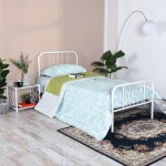 LINE-MORGANA-SW Single Metal Bed Frame- White