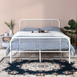 LINE-MORGANA-W Double Metal Bed Frame - White