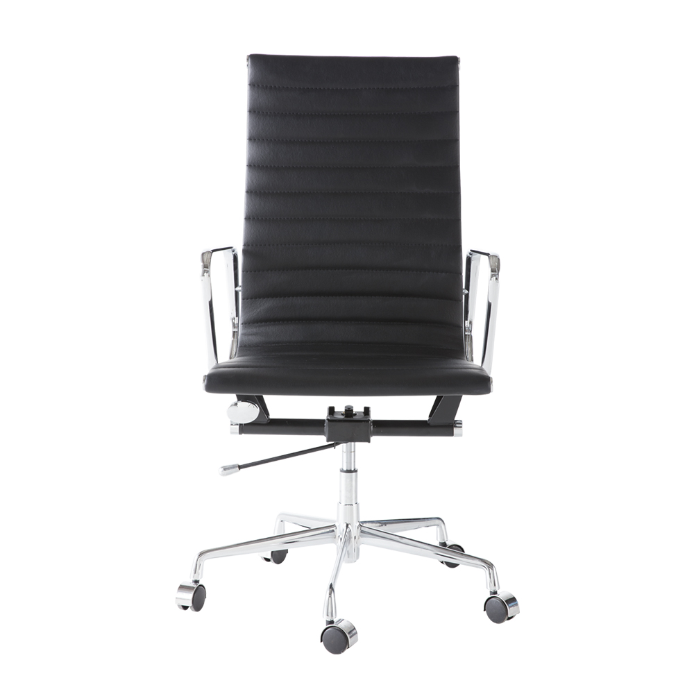 Black PU leather alloy base high back office chair