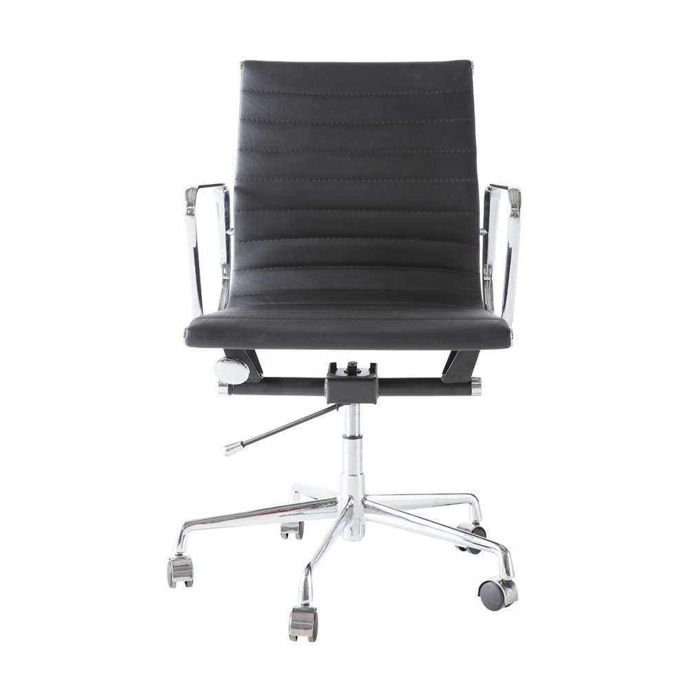 Black PU leather alloy base low back office chair